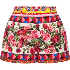 Dolce & Gabbana Printed cotton-poplin shorts ($860) ❤ liked on Polyvore featuring shorts, pastel shorts, patterned shorts, pink shorts, print shorts and colorful shorts