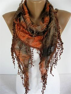 Elegant  Scarf  Cowl with Lace Edge Fashion by MebaDesign on Etsy