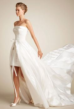 Strapless short sheath silk gown with removable stripped organza skirt Short Wedding Gowns, Couture Wedding Gowns, Wedding Dresses Photos, Wedding Dress Styles, Designer Wedding Dresses, Bridal Dresses, Trendy Wedding, Beautiful Bride, Beautiful Dresses