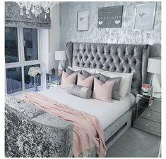 Silver And Grey Bedroom, Bedroom Decor Grey Pink, Pink And Grey Room, Pink Master Bedroom, Grey Bedroom Design, Pink Bedrooms, Girls Bedroom, Teen Bedrooms, Room Ideas Bedroom