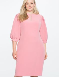 Puff Sleeve Shift Dress with Keyhole Detail PINK