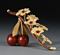 Denise Nielsen and George Worthington ~ Cherry Branch ~ Bloodwood Cherries ~ Holly Flower Petals and Buds ~ Bloodwood and Satinwood Stamen ~ Poplar Stem and Leaves Walnut Branch with Holly End