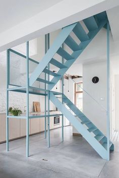 COLLECTION_ Belgian getaways – in wonderland blue metal stairs aqua architecture tim rogge kitchen concrete floors You are in the Stairs Architecture, Architecture Details, Interior Architecture, Cantilever Stairs, Metal Stairs, Painted Stairs, Home Design, Interior Design, Design Ideas