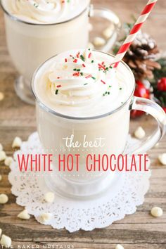 This homemade white hot chocolate is velvety smooth and so rich and delicious! from @bakerupstairs