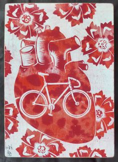brinkley nelson messick original art, recycled, bike art, bike, bicycle, bicycle art, fixie, heart art, heat, anatomical heart, recycled materials, recycled, reclaimed, refurbished, mixed media