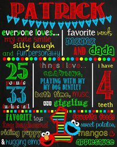 Sesame Street Birthday Chalkboard Sign by VickiTsCreations on Etsy