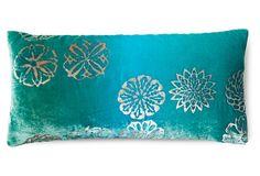 Dandy 7x15 Velvet Pillow, Aqua on OneKingsLane.com