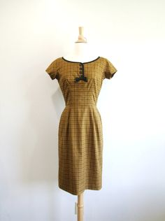 1960s Wiggle Dress Vintage 60s Brown Plaid Dress by RedsThreadsVintage, $70.00