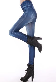 Blue Jeans Imitated Leggings