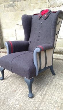 Recycling coats for chair upholstery fabrics is a creative craft idea from studio Rescued Retro Vintage, located in UK. These chairs are unique vintage furniture pieces that created with coats and mil Funky Furniture, Classic Furniture, Unique Furniture, Upcycled Furniture, Vintage Furniture, Vintage Armchair, Furniture Ideas, Love Chair, Diy Chair