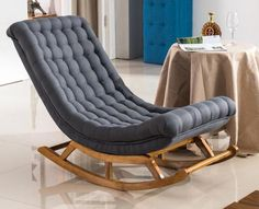Lounge chair link in the bio Living Room Furniture, Home Furniture, Living Room Decor, Bedroom Decor, Deco Furniture, Furniture Design, Upholstered Rocking Chairs, Futon Sofa Bed, Grey Fabric