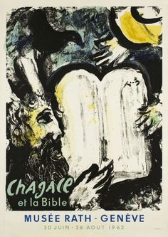 """1962 ''Chagall and the Bible""""  Exhibition at the """"Rath Museum"""" in Geneva Switzerland vintage poster"""