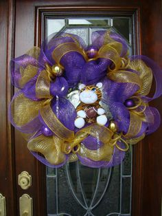 Purple and Gold Fighting Tiger Wreath by FreckleFaceCrafts on Etsy,