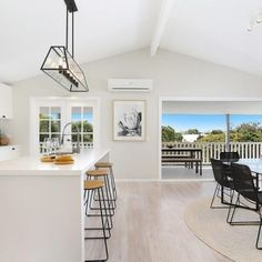 Hamptons coastal dining and kitchen open living Kitchen Dining Living, New Living Room, Long Sofa, Coastal Homes, The Hamptons, Home Improvement, Rooms, Street, Table