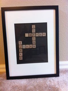 Scrabble Art for Grandparent gifts with the grandchildren's names. Borrowed from another pinner.