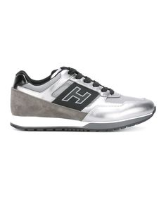 HOGAN Hogan Men'S Silver/Black Leather Sneakers'. #hogan #shoes #sneakers