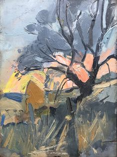 Joan Eardley - Tree and Haystacks, Sunset,. Seascape Paintings, Landscape Paintings, Glasgow School Of Art, Building Art, Art Courses, Abstract Landscape, Artist Art, Painting Inspiration, Illustration Art