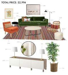 Designing a Budget Living Room - like this credenza, mirror and lamps