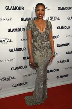 Pin for Later: On Ne Va Pas Oublier ce Tapis Rouge de Si Tôt Jennifer Hudson Portant Marchesa.