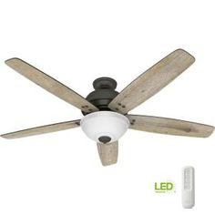 Hunter Reveille 60 in. LED Indoor Noble Bronze Ceiling Fan with Light and Remote 54173 - The Home Depot 60 Inch Ceiling Fans, Large Ceiling Fans, Hunter Ceiling Fans, Black Ceiling Fan, Bronze Ceiling Fan, Hunter Fans, Bowl Light, Brushed Nickel Ceiling Fan, Led Light Kits