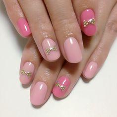 Pink & studs ribbon nail