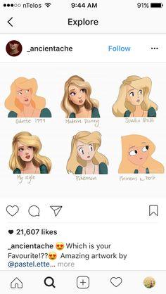 Different art styles. Odette Modern Disney, Studio Ghibli, artist's, Pokemon, Phineas & Ferb Not disney but that's where I'm pinning it sorry Arte Disney, Disney Magic, Disney Art, Disney Memes, Disney Cartoons, Disney And Dreamworks, Disney Pixar, Studio Ghibli, Pokemon