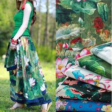 Ink Painting Design Spring Summer Clothes Dresses Cotton Linen Fabric Home Decorative Sewing Textile Floral Tissu Meter 2005BL(China)