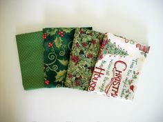 Fat Quarter Bundle Christmas Quilting Sewing Holly Trees Crafting Red Green Fabric With Susan Winget Fabric by NeedlesnPinsStichery on Etsy