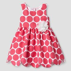 Zenzi Toddler Girl's Sleeveless Polka Dot Pique Scallop Hem A Line Dress - Coral/White 2T, Orange