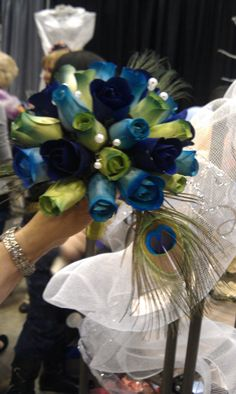 Love the color scheme with the feathers Wedding Things, Wedding Stuff, Wedding Photos, Wedding Ideas, Wooden Flower Bouquet, Wooden Flowers, Peacock Feathers, Always And Forever, Peacocks