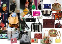 Bags:  Bags should be angular and asymmetrical shapes (triangles, squares, thin rectangles, boxes, etc.) The skin should be tight, keep in shape and smooth.  Wild patterns, bright colors and unusual fabrics look very elegant. Form for holding a portfolio of documents (on a rigid plate).