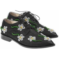Anouki Margarita Beaded Glitter Brogues ($517) found on Polyvore featuring women's fashion, shoes, oxfords, black, black oxfords, swarovski crystal shoes, black brogues, floral shoes and floral print oxfords