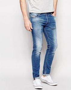 Diesel Jeans Sleenker 607K Skinny Fit Stretch Light Distressed Wash