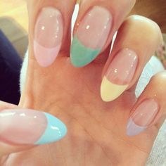 Jessie J's colored french almond nails