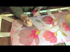 Hand Painted Silk Scarf by Tonya Butcher - YouTube