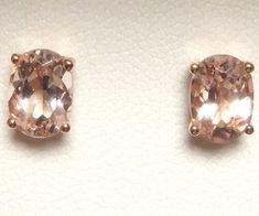 14K 14 ct Rose Gold Genuine Natural Peach Morganite Stud Earrings Oval 7 x 5 mm #Stud #Earrings