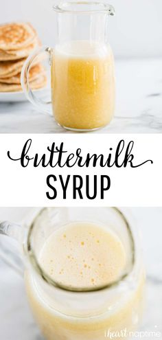 Recipes Snacks Easy Buttermilk Syrup - Amazing homemade syrup with a rich, caramel flavor. Only 5 ingredients and 10 minutes to make. Perfect for pancakes, waffles, french toast and more! Buttermilk Syrup, Homemade Buttermilk, Fruit Smoothies, Smoothie Recipes, Chutney, Homemade Syrup, Pumpkin Waffles, Pickling, Dressings