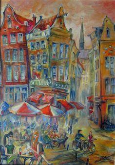 9 straatjes in Amsterdam - olieverf op doek - Elena Polyakova (1970-)