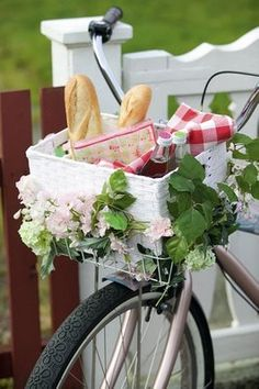 Peddling by with a springtime basket of picnic fun for two. #picnic #spring #basket #bike #bicycle #summer