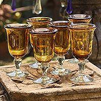Blown glass goblets, 'Golden Amber' (set of 6, large) - Set of 6 Hand-Blown Glass Goblets with Amber Rims