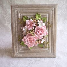 Buy Flower arrangement of polymer clay in the frame. Ceramic Flowers, Clay Flowers, Fabric Flowers, Paper Flowers, Flower Frame, Flower Boxes, Picture Frame Wreath, Diy And Crafts, Paper Crafts