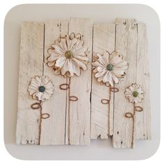 Wood pallet wall art with muslin flowers, jute twine, and polymer clay centers. Rustic shabby chic by Sarahbellum in Chelan, Washington