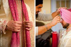 Groom Getting Ready, Sikh Wedding, South Asian Wedding, Groom Wear, Get Ready, Turban, Cinema, Indian, Pink