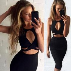 Cut Out Bandage Bodycon Str..