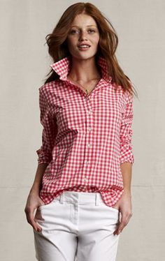 """Red Gingham - there is nothing more """"summery"""" tan red gingham and white """"anything""""!"""