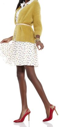 cute brights and polka dots belted sweater
