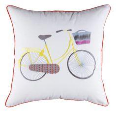 Kuscheln Mit Charmantem Radler Statement Das Quadratische Kissen Bringt Dem Leuchtend Bunten Fahrradmotiv