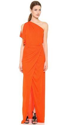 Vionnet One Shoulder Capelet Dress