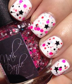 "Nail Art for Short Nails ""Girls Just Wanna Have Fun"" www.kraftygurldesigns.com"