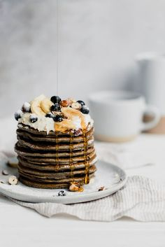 Gluten-Free Buckwheat Pancakes with Blueberries Broma Bakery - Real Time - Diet, Exercise, Fitness, Finance You for Healthy articles ideas Buckwheat Pancakes, Pancakes And Waffles, Blueberry Pancakes, Blueberry Crisp, Buttermilk Pancakes, Gluten Free Blueberry, Vegan Gluten Free, Vegan Blueberry, Broma Bakery